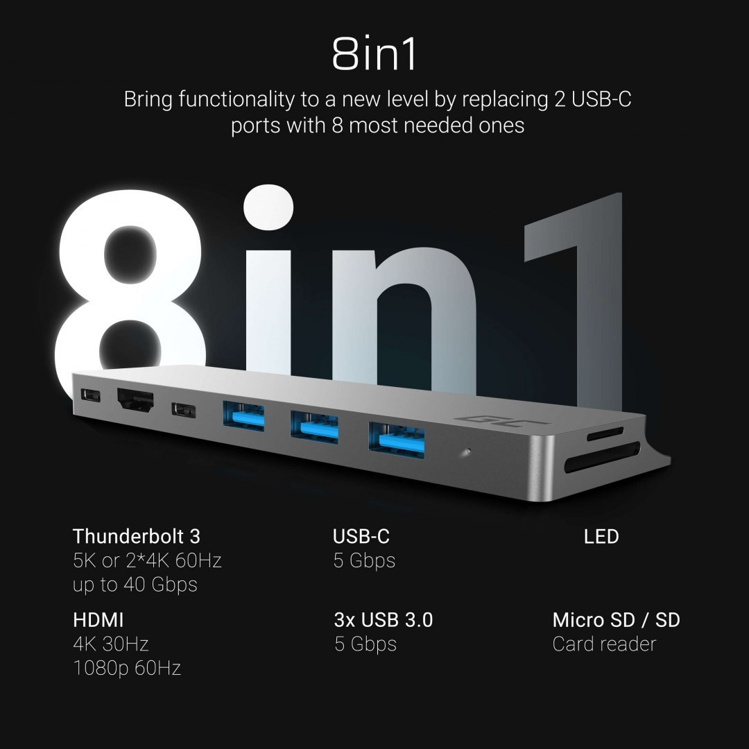 Adapter Green Cell HUB Connect60 8w1 (Thunderbolt 3, USB-C, HDMI, 3x USB 3.0) do Apple MacBook Air 2018, Pro 2016 i nowszych