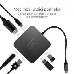 Adapter, Przejściówka, HUB USB-C Green Cell 6w1 (USB 3.0 HDMI Ethernet USB-C) do Apple MacBook, Dell XPS, Asus ZenBook i innych