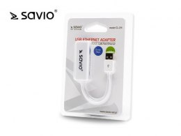 Adapter USB LAN 2.0 - Fast Ethernet (RJ45) SAVIO CL-24, blister